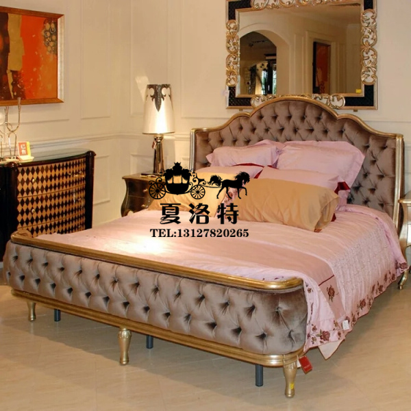 American country --- new classical carved wood bed double champagne 1.8 m bed European soft bed