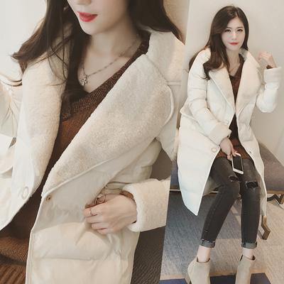 2016冬季外套女装新款拼接羊羔毛棉衣棉服女中长款韩版加厚棉袄潮