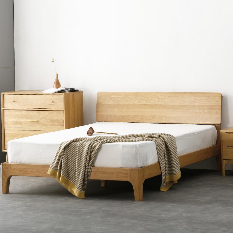 Nordic all solid wood 1.8 meters double bed, modern simple oak bedroom furniture, single back 1.5 meters special bed
