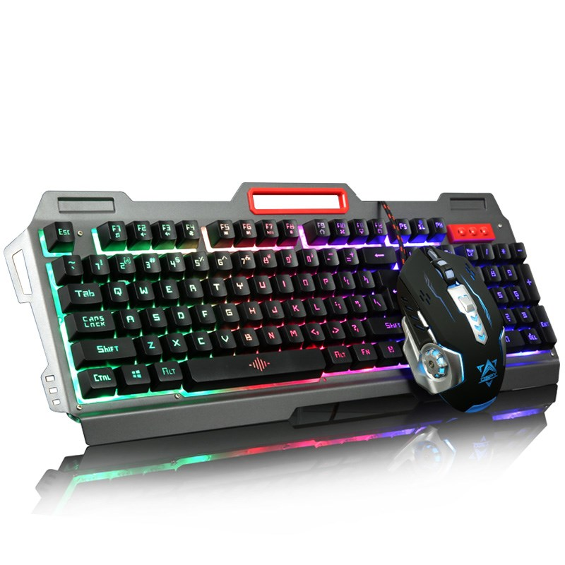 Waterproof washable L game macro definition of mechanical feel, metal wired keyboard set mouse theory