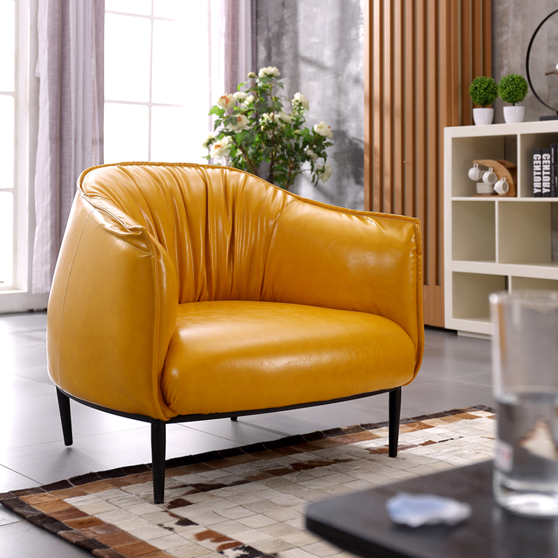 North European single sofa simple leisure reception negotiation creative design chair hotel small apartment Cafe leather sofa