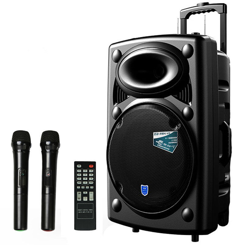 Outdoor 15 inch pull rod sound box portable household high power Bluetooth square dance battery sound HJ-610