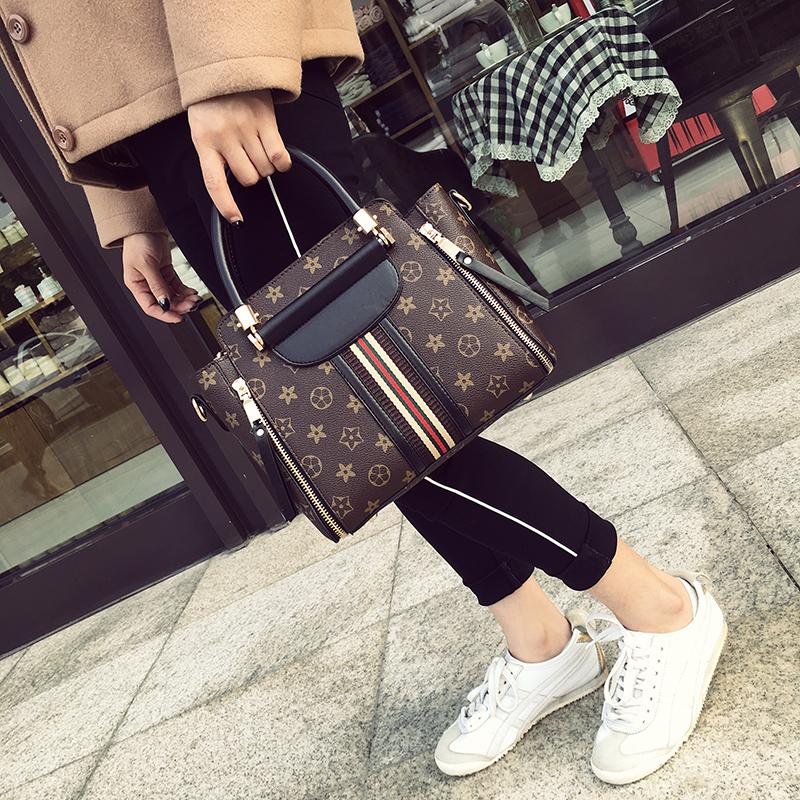 包包女2017冬季新款老花欧美时尚手提包百搭单肩包斜跨潮流女包