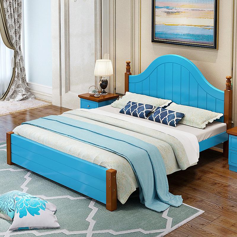 地中海木造床アメリカンカントリー皮ベッドベッド1 . 5メートル高箱ダブルベッド