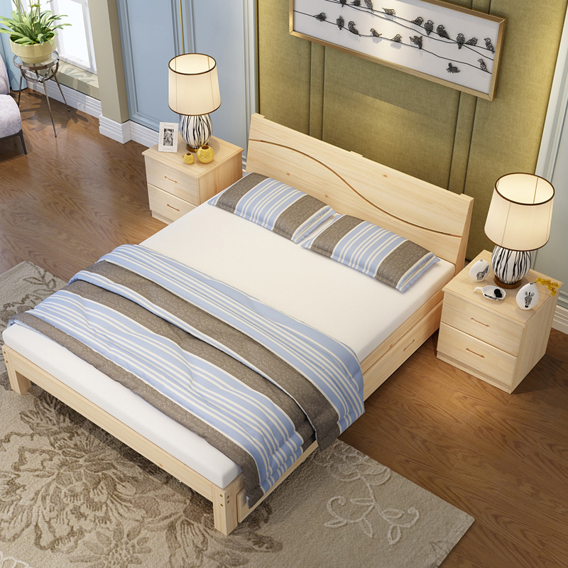 Modern simple meter master bedroom, solid wood double bed rental room 1.2 adult single bed 1.5m economical special price 1.8