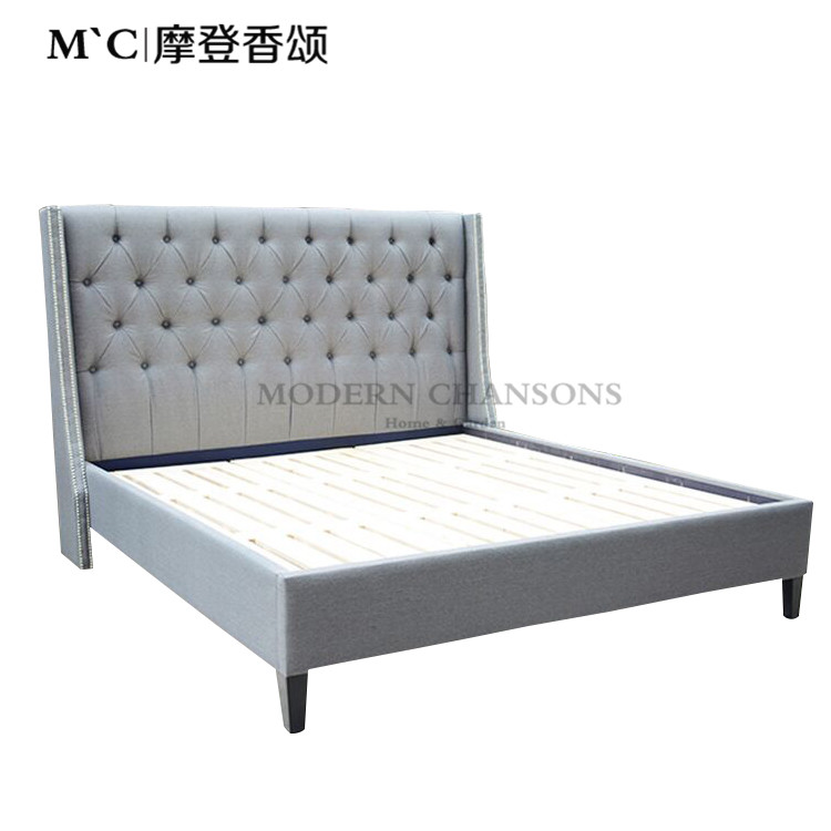 The cloth bed bedroom Zhuwo pull flannel bed 1.5 meters 1.8 meters high double soft bed large-sized apartment