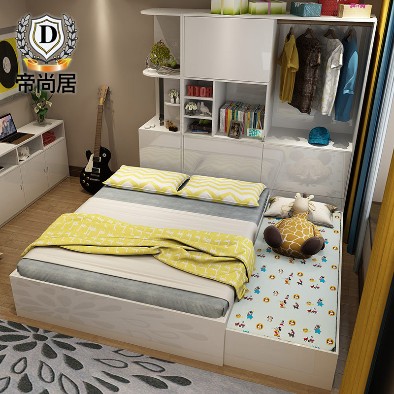 Tatami bed bedroom modern minimalist multifunctional double Zhuwo type bed lockers included the high paint box
