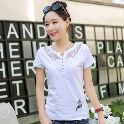 The spring and summer fashion lace cotton short sleeved T-shirt women slim lady shirt white shirt in summer