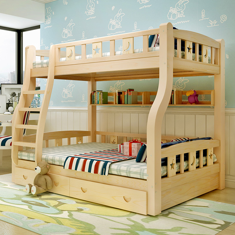 High and low bed upper and lower bunk bed combined with storage can split adult upper and lower bunk solid Muzi mother bed