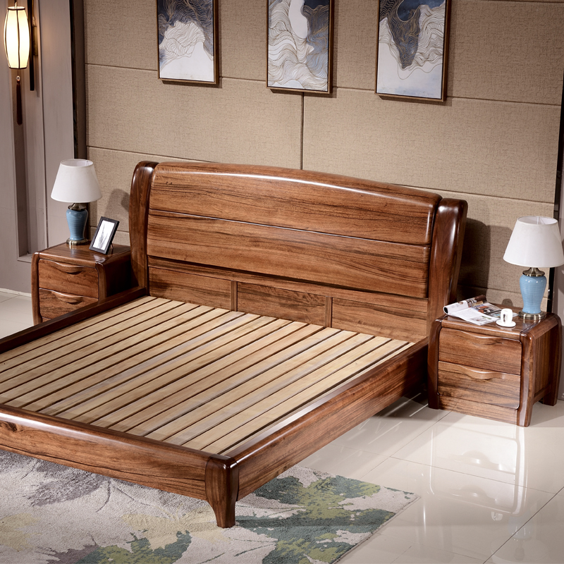 The Chinese original wooden wood zingana wood 1.8 meters high pressure storage box bed main bedroom furniture double bed