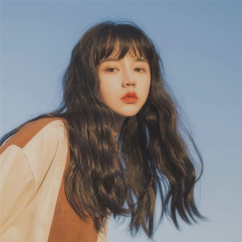 韩国网红空气刘海玉米烫泡面假发女长卷发自然蓬松潮流中长卷梨花