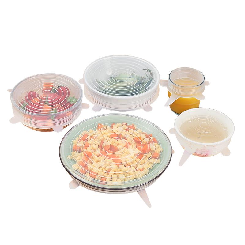 6件套 家用硅胶保鲜盖加热碗盖密封盖重复使用通用冰箱保鲜膜透明
