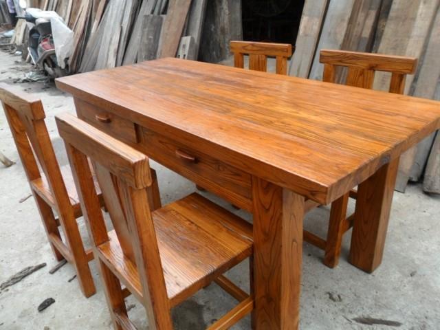 Combinaison de tables et de chaises écologique de meubles en bois massif de repas d'origine 5 pièces d'Elm meubles de Salon restaurant table d'usine