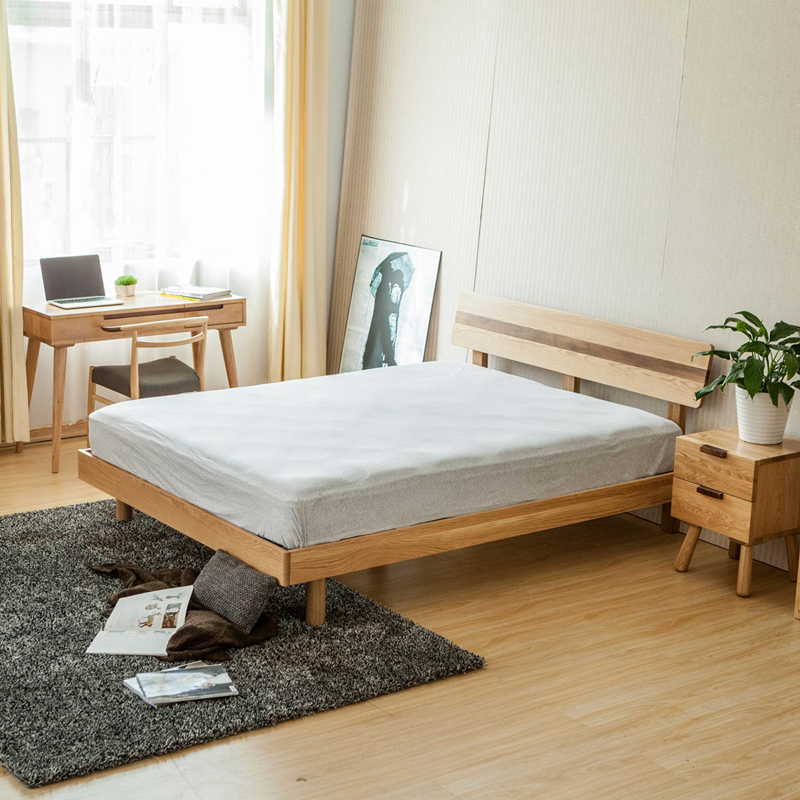 Solid wood bed furniture Nordic European style bed, modern simple white oak 1.51.8 m double bed