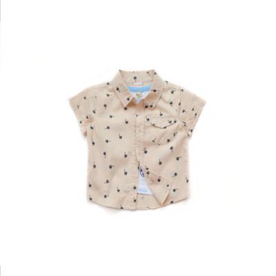 外贸童装男童儿童夏天欧美短袖衬衫纯棉椰树翻边上衣衬