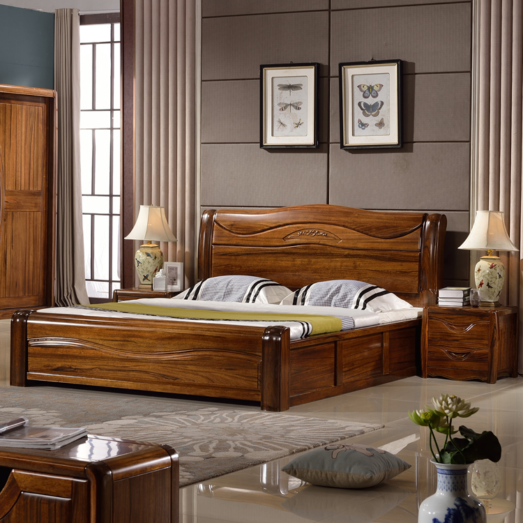 Black walnut bed 1.8 meters high storage box complete wood double wedding bed simple modern Chinese style furniture elm bed