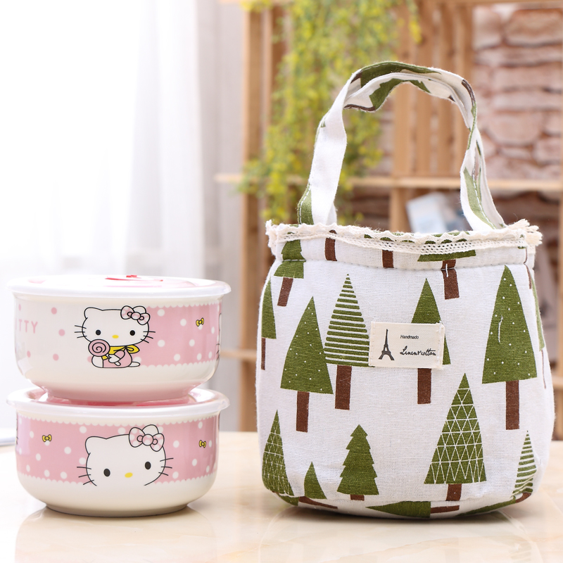 Ceramic bowl with cover for microwave oven heating grid lunch box office workers lunch boxes of Korean Students