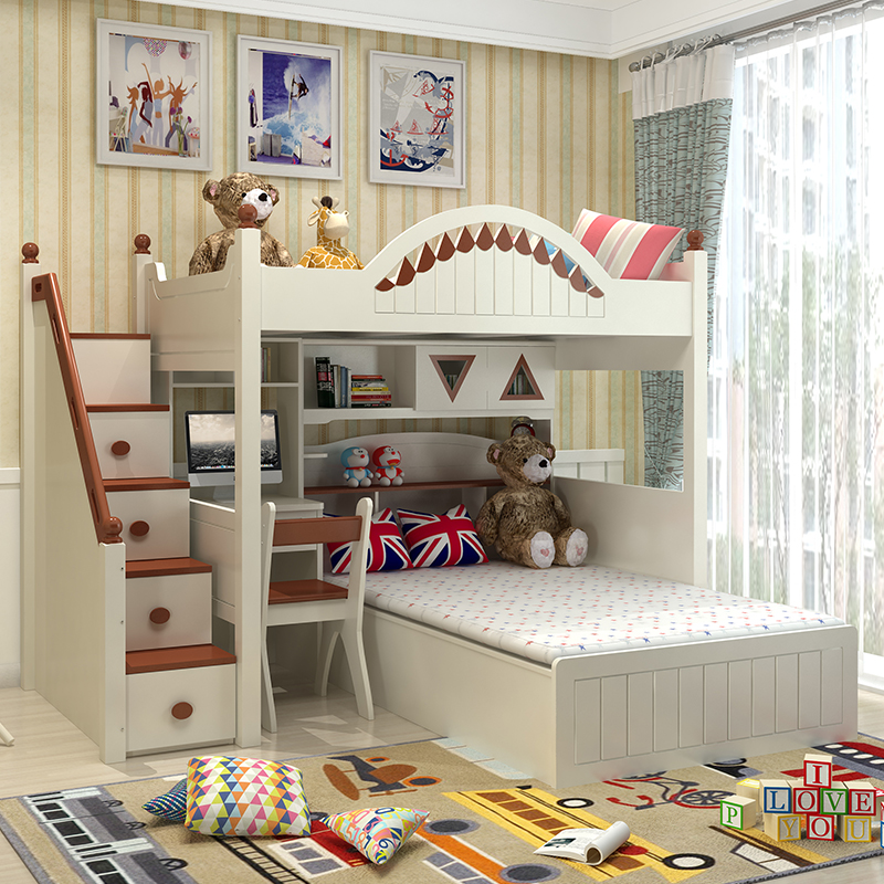 The desk wardrobe multifunction children bed combination bed boys and girls on the bed bed double bed bunk bed with mother