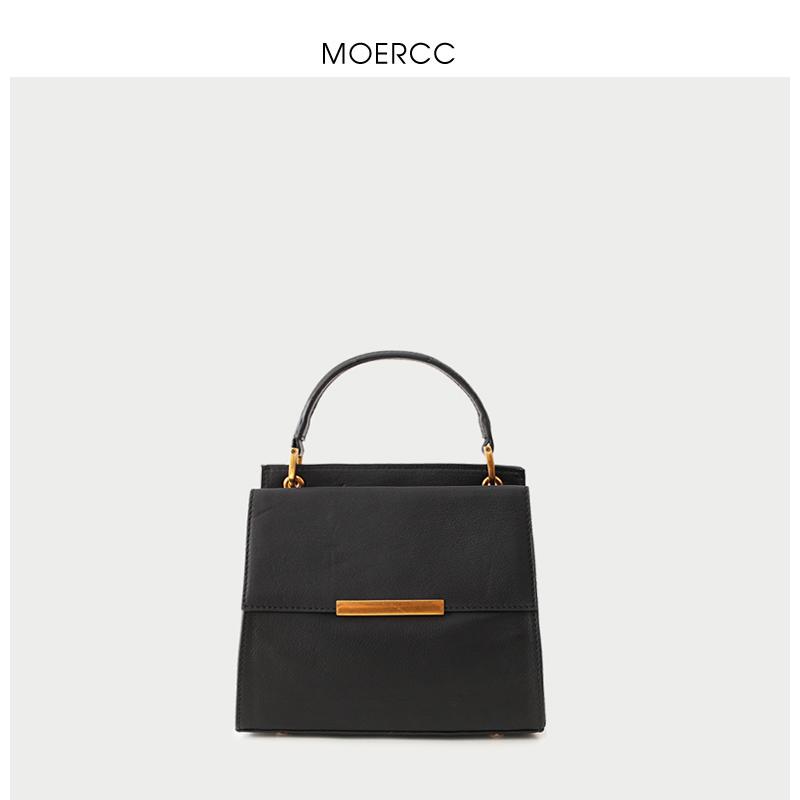 黑色moercc簡約韓版小包斜挎單肩包歐美女包復古小方包牛皮通勤手提包
