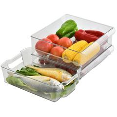 2个装冰箱收纳器冰箱收纳盒长方形抽屉式整理盒食品食物储物盒