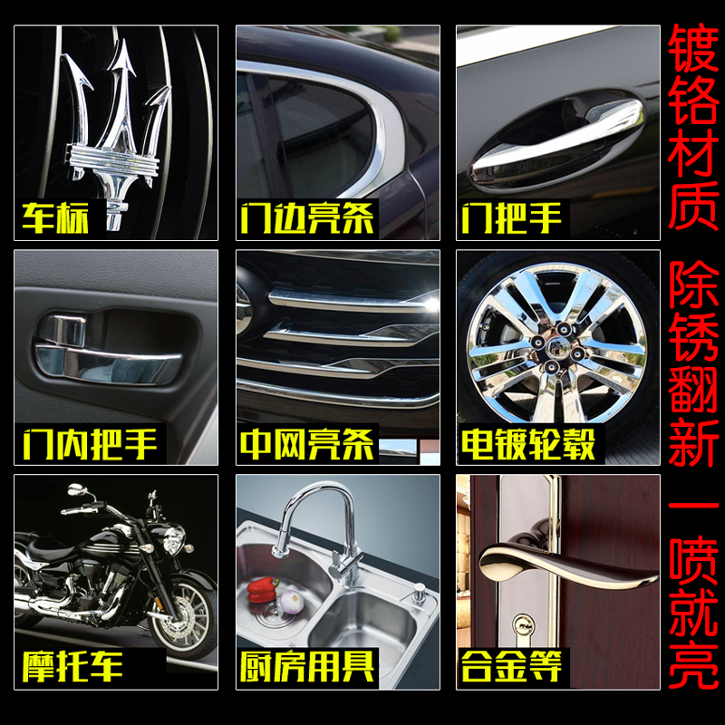 Bright chrome logo removal rust agent for automotive wheel polishing cleaning metal Luo electroplating brightener