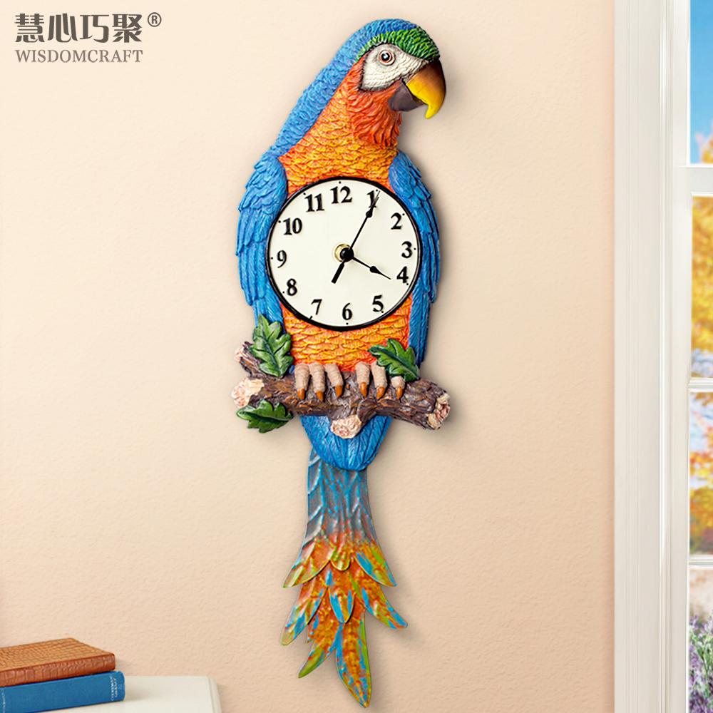 客廳美式創意時尚現代鐘表臥室歐式田園時鐘簡約靜音鸚鵡裝飾掛鐘