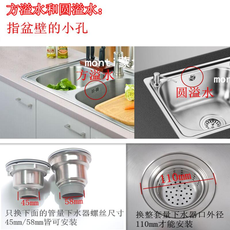 La cuenca de drenaje de agua lavando platos en el fregadero de la cocina de dos piezas de tubo de acero inoxidable para el tanque de agua contra el bloqueo