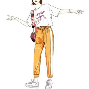 实拍1817#夏季亚博开户撞色高腰系带运动裤女学生宽松显瘦休闲裤子