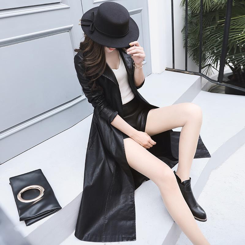 秋冬海宁真毛领皮衣女韩版气质修身显瘦中长款大码加厚皮风衣外套