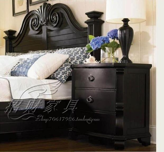 American country solid wood bed, 1.8 meters double bed, 1.5 meters retro, old black princess bed, Nordic simple furniture