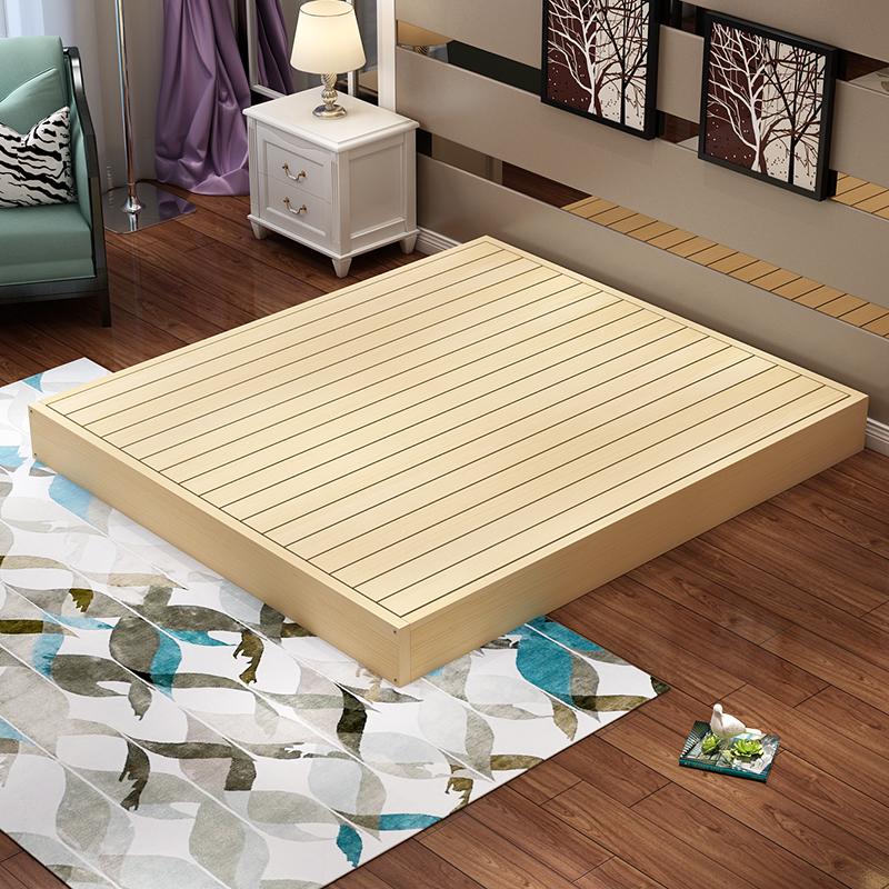 Wood tatami bed hard mattress bed frame 1.5 double wooden bedstead skeleton can be customized simple modern