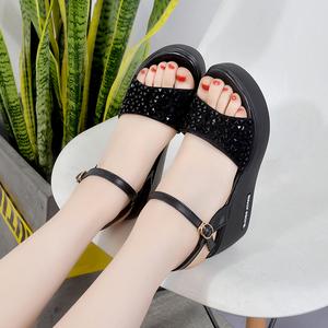 2018夏新款厚底松糕鞋凉鞋女韩版坡跟凉鞋高跟鞋防水台露趾女凉鞋
