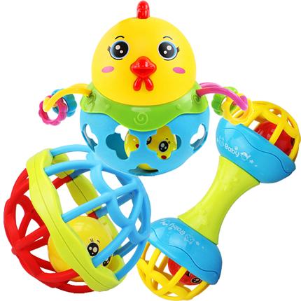 摇铃玩具婴儿手抓球新生儿0-3-6个月宝宝可咬软胶套装男女孩0-1岁