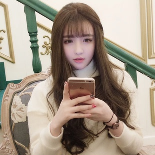 Korean girls wig long curly hair straight hair thin air Liu Haichang big wave round face realistic fluffy hair cover repair face