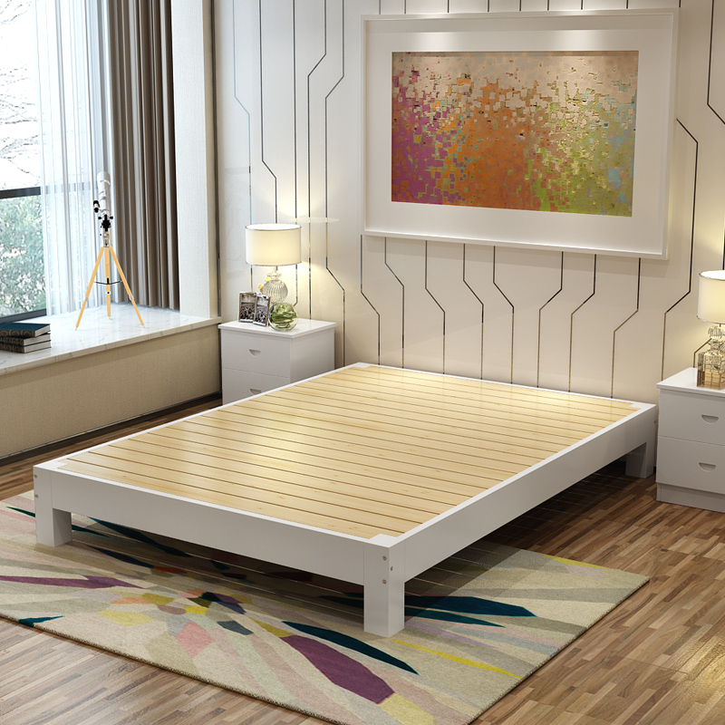 Solid wood bed double bed single bed 1.5 meters high 1.8 meters tatami bed bed bed bed bed simple