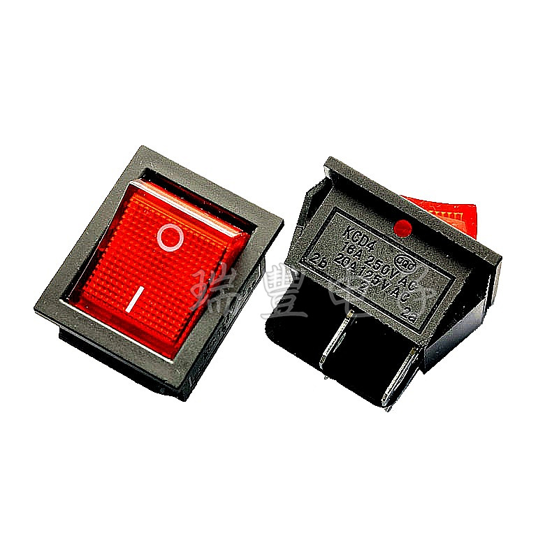 Two feet with the red 15A250V KCD4 ship shaped switch KCD4-201N power switch