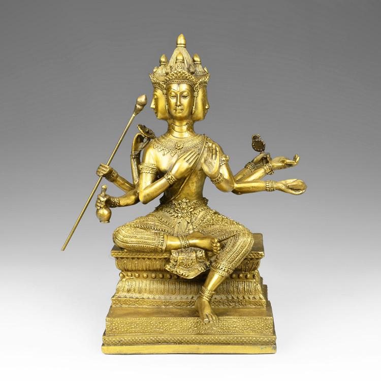 5寸黃色慈緣閣純銅泰國四面佛像 有求必應大梵天王銅像擺件佛堂居室用品