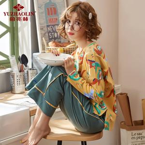 睡衣女秋长袖韩版清新学生春季纯棉宽松家居服套装薄款夏两件套
