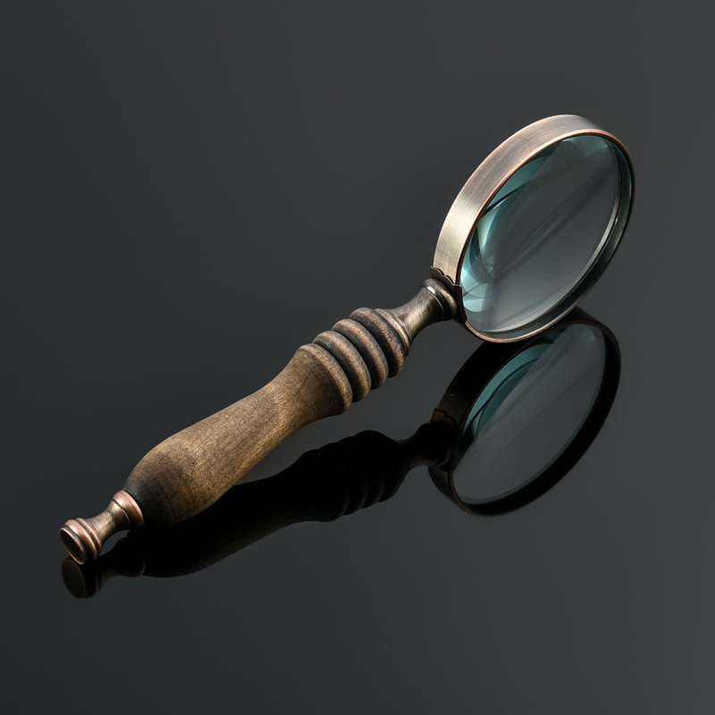 La Caja de regalo de bronce con lupa los lentes de vidrio de 10 veces la lupa de identificación y lectura