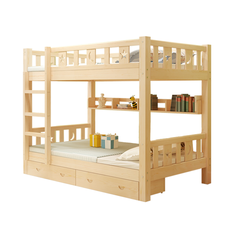 Double bed adult children bed level of modern minimalist wooden bed bed dormitory bunk bed mother on the bed