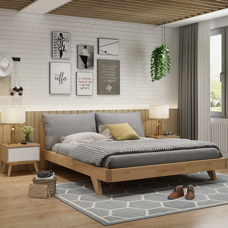 Nordic solid wood bed 1.8 meters, 1.5 meters modern minimalist furniture, Japanese walnut colored wedding bed, double oak bed