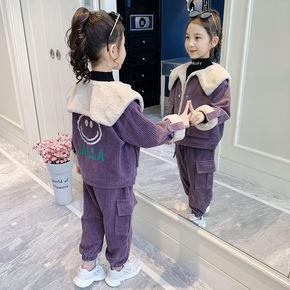 女童套装秋冬2020新款洋气女孩加厚灯芯绒冬装儿童加绒两件套冬季