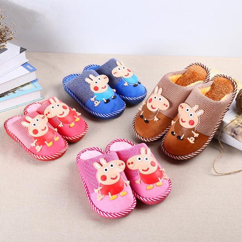2017新款冬季小猪可爱女童居家鞋大中小童室内宝宝儿童棉拖鞋男童