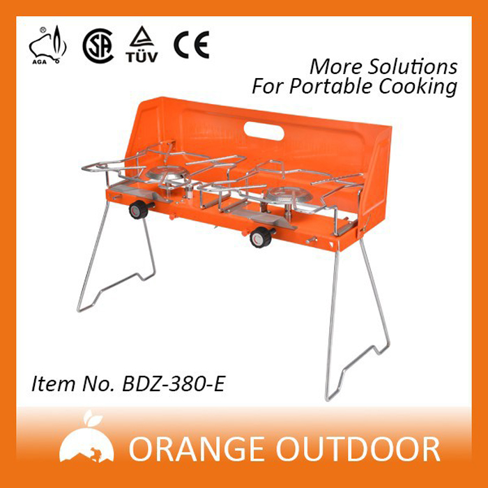 Gas cooker, double gas cooker, folding portable gas stove, outdoor stainless steel stove, wind proof barbecue stove