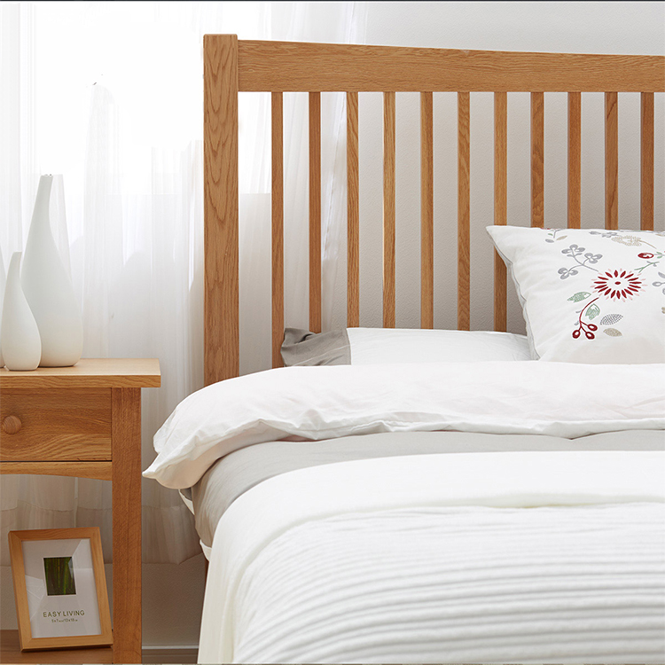 Nordic solid wood beds, simple double beds, oak spade wood, Japanese princess bed