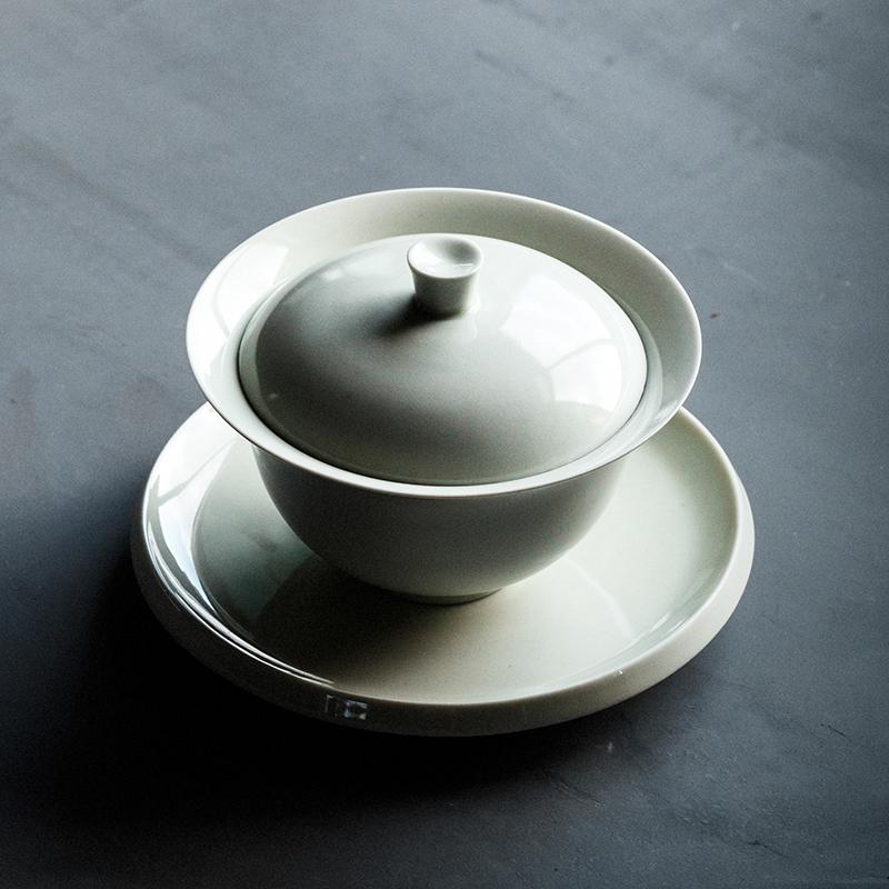秘色釉蓋碗景德鎮秘色瓷蓋碗茶杯大號手工泡茶碗仿古細陶三才碗功夫茶具杯子