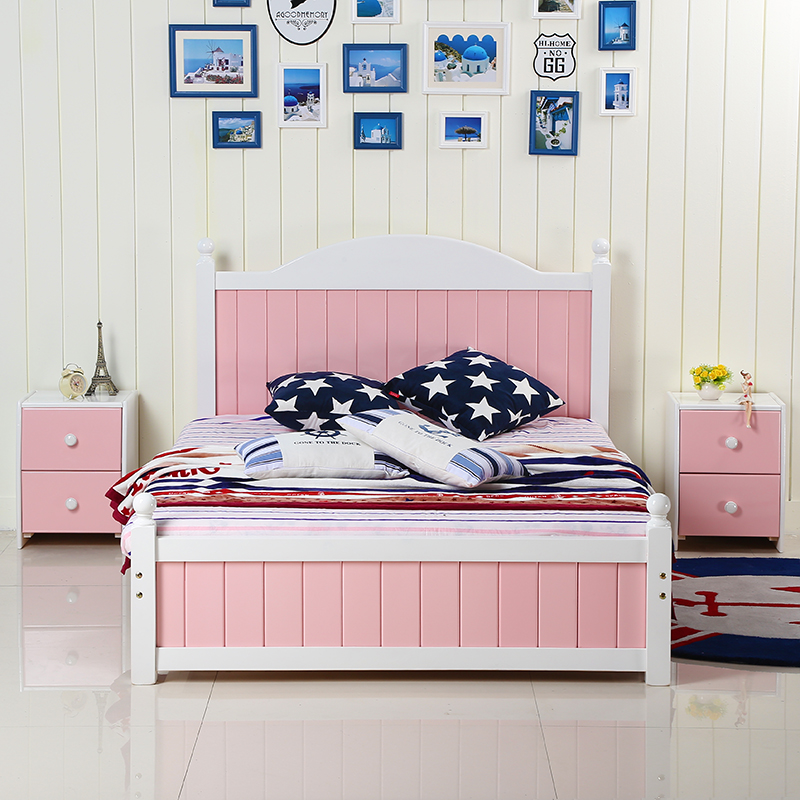New wood bed, children's bed, boys and girls bed, single bed double bed, 1.51.8 Pink Princess Bed
