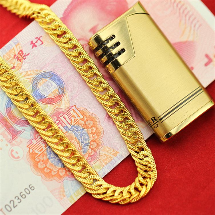 Simulation of 24K gold plated necklace for men in Vietnam do not fade false coarse gold gold chains domineering props