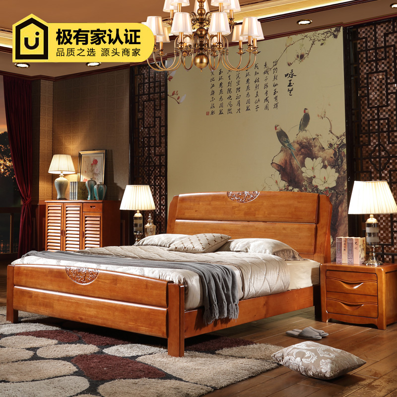 Oak bed double solid wood bed, 1.8 meters, 1.5 meters high box storage bed, modern Chinese wedding bed double bed mail