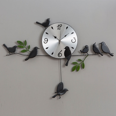 Wall Clock Pastoral bird clock living room creative art simple bedroom clock modern wall household clocks